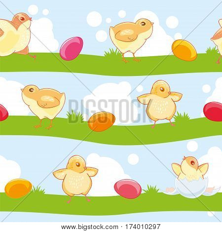 Easter seamless pattern with cute cartoon chickens and colored eggs on the background of lawn and sky. Textiles, Wallpaper, kids decor.