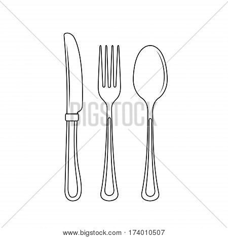 Cutlery on a transparent background. Fork knife and spoon silhouettes. Vector illustration