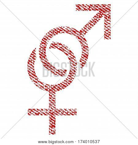 Sex Symbol vector textured icon for overlay watermark stamps. Red fabric vectorized texture. Symbol with unclean design. Red ink rubber seal stamp with fiber textile structure.