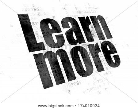 Learning concept: Pixelated black text Learn More on Digital background