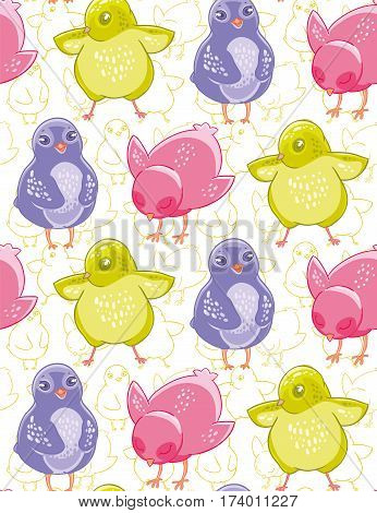 Seamless pattern with funny purple, pink and green cartoon chickens. Textiles, Wallpaper, kids decor.