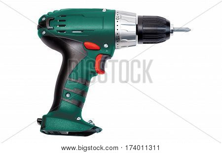 Green screwdriver isolated on a white background