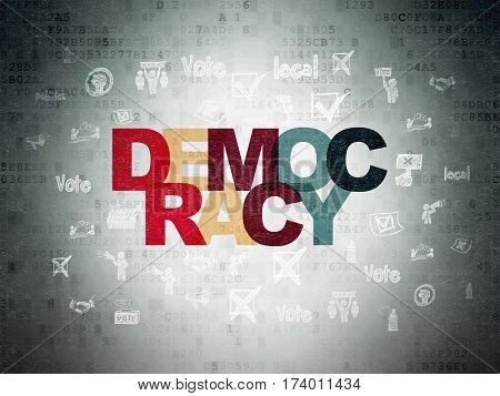Politics concept: Painted multicolor text Democracy on Digital Data Paper background with  Hand Drawn Politics Icons