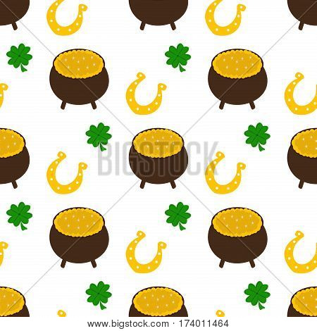 Vector seamless clover pattern. Clover pattern with three leaf. Nature luck day grass celebration design. Clover pattern with four leaf. Green nature plant for Saint Patrick's Day.