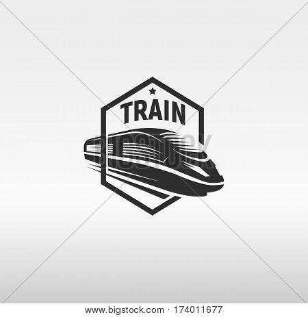 Isolated monochrome modern gravure style train in frame logo on white background vector illustration.