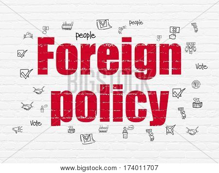 Politics concept: Painted red text Foreign Policy on White Brick wall background with  Hand Drawn Politics Icons