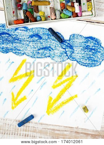 colorful drawing and crayons -  thunderstorm, rain and clous