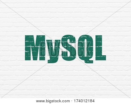 Programming concept: Painted green text MySQL on White Brick wall background