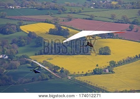 Hang Gliders flying in the Brecon Beacons, Wales