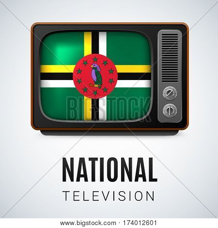 Vintage TV and Flag of Dominica as Symbol National Television. Tele Receiver with Dominican flag