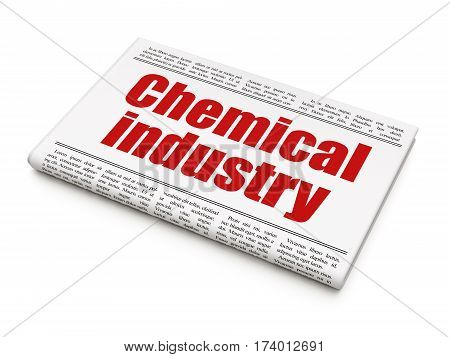 Manufacuring concept: newspaper headline Chemical Industry on White background, 3D rendering