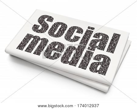Social media concept: Pixelated black text Social Media on Blank Newspaper background, 3D rendering