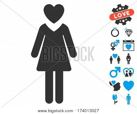 Mistress pictograph with bonus passion pictures. Vector illustration style is flat iconic blue and gray symbols on white background.