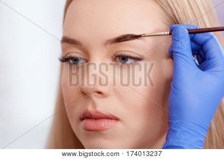 Close up of professional cosmetologist in blue gloves making permanent eyebrows for attractive woman, using brush and brown paint. Blonde serious looking down and enjoying in beauty salon.