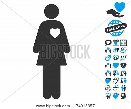 Mistress icon with bonus dating clip art. Vector illustration style is flat iconic blue and gray symbols on white background.