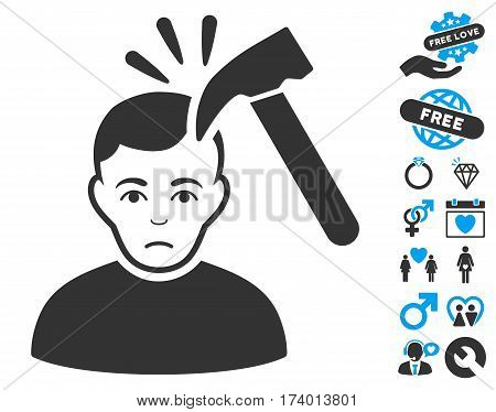 Murder With Hammer icon with bonus valentine pictograph collection. Vector illustration style is flat iconic blue and gray symbols on white background.