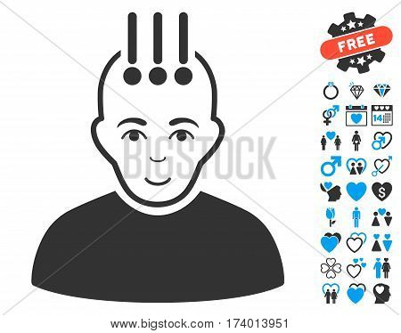 Neural Interface icon with bonus passion icon set. Vector illustration style is flat iconic blue and gray symbols on white background.