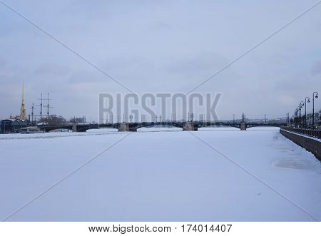 Winter Day Small Nevka and Makarova Embankment in St. Petersburg