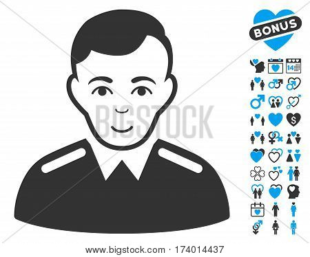 Officer icon with bonus valentine clip art. Vector illustration style is flat iconic blue and gray symbols on white background.