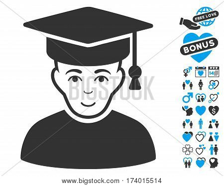 Professor icon with bonus amour pictures. Vector illustration style is flat iconic blue and gray symbols on white background.
