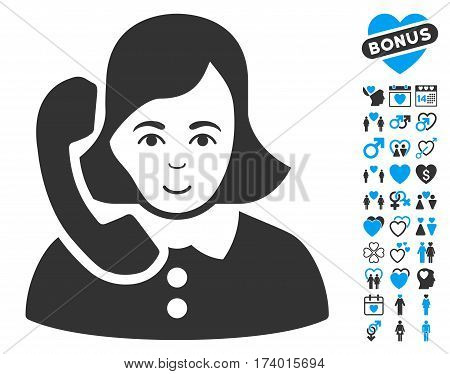 Receptionist icon with bonus decorative images. Vector illustration style is flat iconic blue and gray symbols on white background.