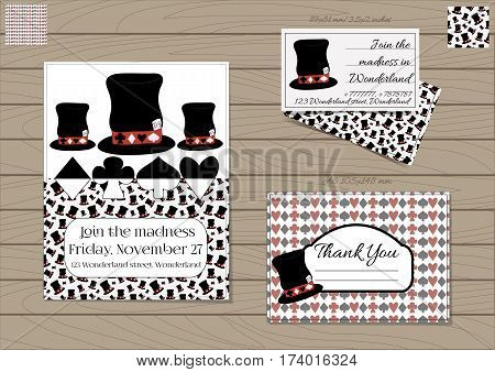 Mad Hatter Hat Alice in Wonderland. Set Collection of Invitation card, Thank you Note, Business Card. Printable Vector Illustration for Graphic Projects, Parties, Web, Celebrations. Wooden Background