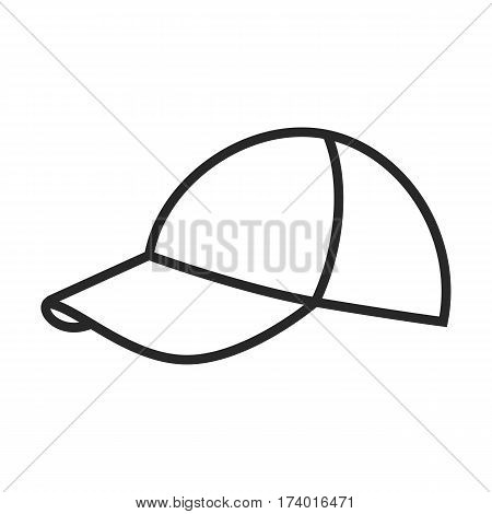 Peaked cap vector icon in simple outline style. These icons are perfect for your websites and applications. All icons in the vector, and you can easily change the color and size.