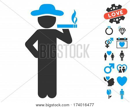 Smoking Gentleman pictograph with bonus decorative pictograph collection. Vector illustration style is flat iconic blue and gray symbols on white background.