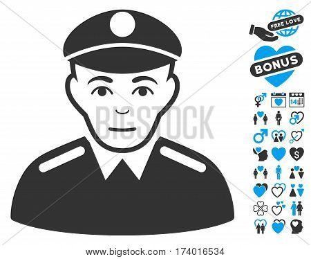 Soldier pictograph with bonus valentine graphic icons. Vector illustration style is flat iconic blue and gray symbols on white background.