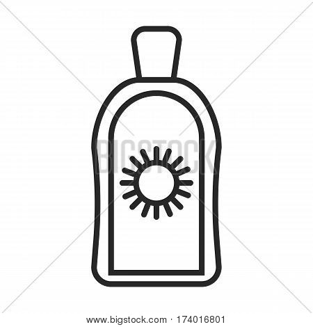 Suntan cream vector icon in simple outline style. These icons are perfect for your websites and applications. All icons in the vector, and you can easily change the color and size.