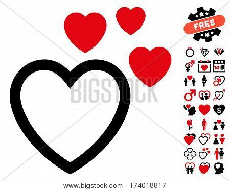 Love Hearts icon with bonus valentine images. Vector illustration style is flat iconic intensive red and black symbols on white background.