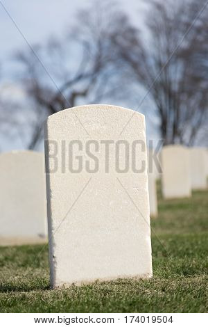 A blank tombstone in a cemetery. Lots of copy space.