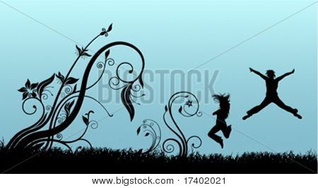 jumping people with floral background