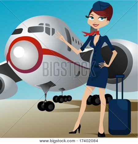 airline hostess with airplane