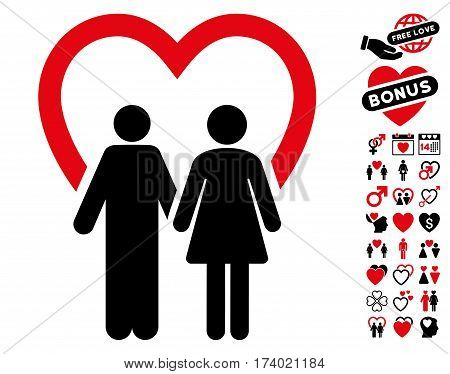 Marriage icon with bonus passion pictures. Vector illustration style is flat iconic intensive red and black symbols on white background.