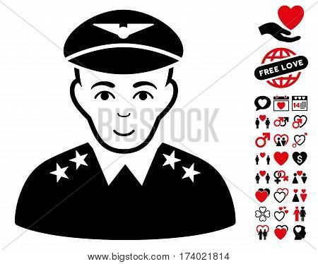 Military Pilot Officer icon with bonus lovely graphic icons. Vector illustration style is flat iconic intensive red and black symbols on white background.