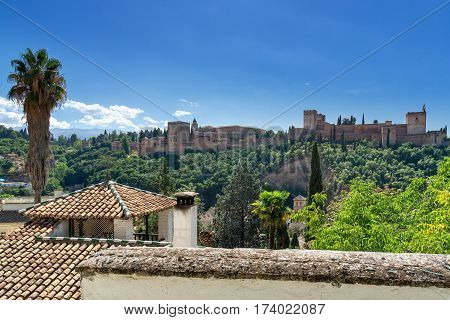 Alhambra in Granada, Andalusia. View of the world famous Alhambra with its Arab palaces and walls in southern Spain.
