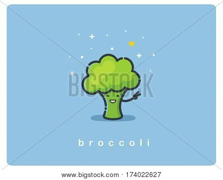 Vector flat icon of broccoli, cute vegetable cartoon character, baby meal menu
