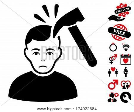 Murder With Hammer icon with bonus love design elements. Vector illustration style is flat iconic intensive red and black symbols on white background.