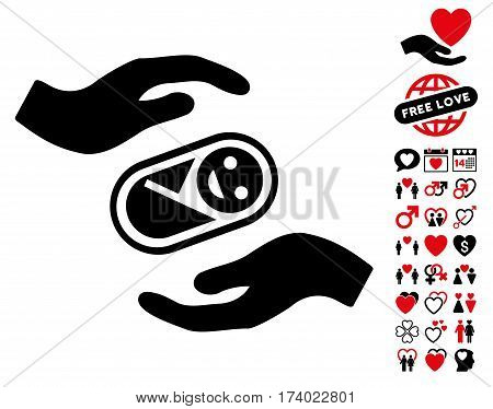 Newborn Care Hands pictograph with bonus love pictures. Vector illustration style is flat iconic intensive red and black symbols on white background.