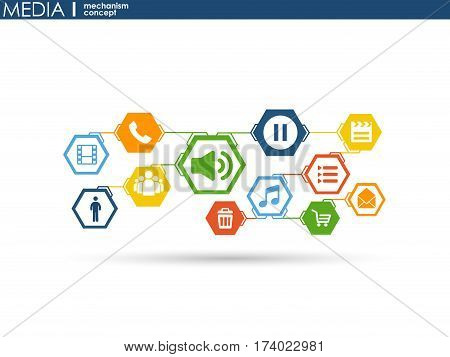 Media mechanism concept. Growth abstract background with integrated meta balls, integrated icon for digital, strategy, internet, network, connect, communicate, technology, global concepts