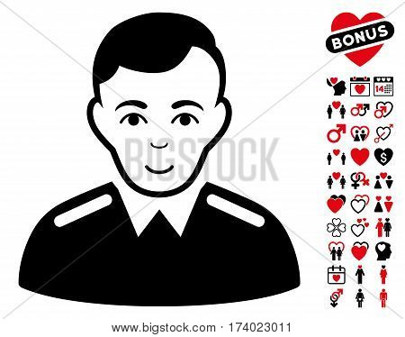 Officer icon with bonus passion symbols. Vector illustration style is flat iconic intensive red and black symbols on white background.