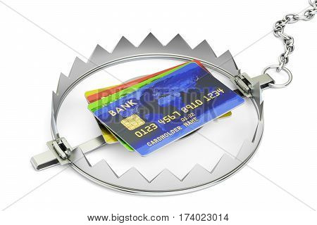 Credit trap with credit cards 3D rendering isolated on white background