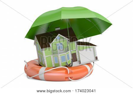 Home security and protection concept house with lifebuoy. 3D rendering