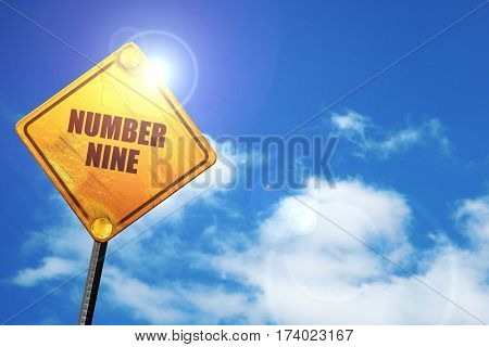 number nine, 3D rendering, traffic sign
