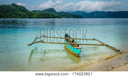 Colourful Local Boat on Friwen Island, West Papuan, Raja Ampat. Indonesia