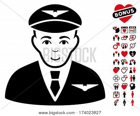 Pilot pictograph with bonus decoration symbols. Vector illustration style is flat iconic intensive red and black symbols on white background.