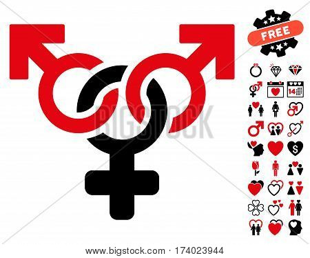Polyandry icon with bonus love pictograms. Vector illustration style is flat iconic intensive red and black symbols on white background.