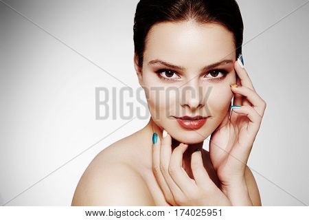 Beautiful Model With Fashion Make-up. Close-up Portrait Sexy Woman With Glamour Lip Gloss Makeup And