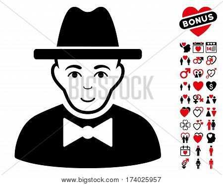 Spy pictograph with bonus passion clip art. Vector illustration style is flat iconic intensive red and black symbols on white background.